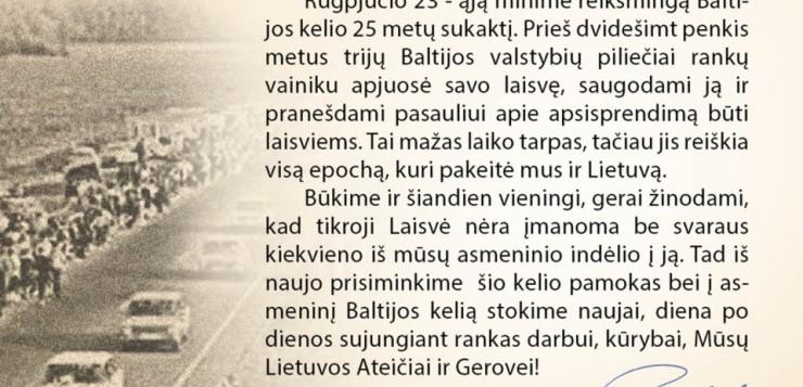 Baltijos keliui – 25. LSDP Vilniaus miesto skyriaus Lazdynų poskyrio pirmininko Sauliaus Povilaičio sveikinimas